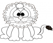 cute cartoon lion dessin à colorier