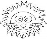 cartoon lion head dessin à colorier