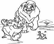 le roi lion avec pumbaa et timon dessin à colorier