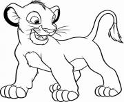 le roi lion simba joyeux dessin à colorier