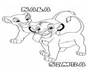 simba et nala bebe roi lion dessin à colorier