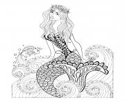fantastique sirene vagues de mer avec un poisson rouge et couronne sur la tete dessin à colorier