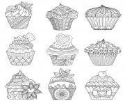 neuf assortiment cupcakes originaux pour adulte dessin à colorier