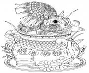adulte ecureuil adorable dans une theiere dessin à colorier