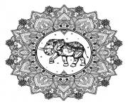 adulte mandala elephant inde dessin à colorier