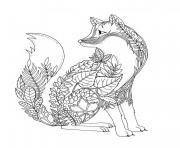 renard en forme de feuilles et vegetations foret adulte dessin à colorier