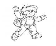 garcon 6 ans se dirige vers lecole dessin à colorier