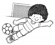 Coloriage petit garcon gardien de but foot