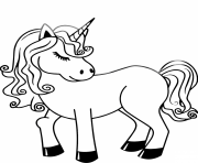 licorne kawaii avec belle chevelure dessin à colorier