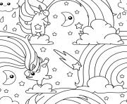Coloriage licorne arc en ciel unicorn pattern