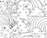 licorne arc en ciel unicorn pattern dessin à colorier