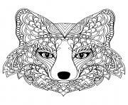 adulte difficile tete renard dessin à colorier