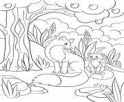 Coloriage petit renard fait une marche animaux dessin