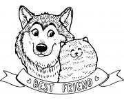 chien et chat meilleurs amis bff dessin à colorier