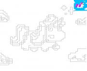 licorne kawaii en pixel art dessin à colorier