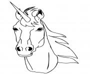 tete de licorne realiste dessin à colorier