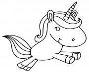 licorne kawaii joyeuse dessin à colorier