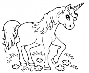 licorne se repose dans le jardin magique dessin à colorier