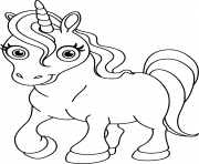 Coloriage licorne kawaii princesse facile