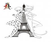 chat noir et ladybug tour effeil paris france dessin à colorier