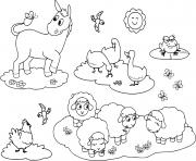 animaux de la ferme pour enfants ane oie poule moutons et grenouille dessin à colorier