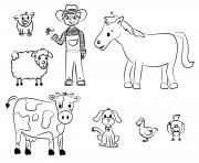 le fermier et ses animaux dessin à colorier