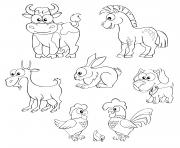 cartoon ferme animaux cheval vache chevre lapin chien poule coq et poussin dessin à colorier