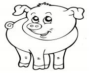 Coloriage cochon souriant animal de la ferme