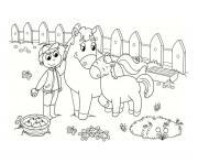 poney a la ferme dessin à colorier