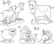 animaux de la ferme pour les enfants de chevre vache cochon dindon le chien et avale dessin à colorier