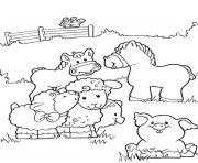 bebe animaux de la ferme souriant dessin à colorier