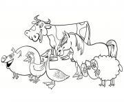 le sourire des animaux de la ferme dessin à colorier