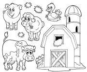 une ferme avec animaux dessin à colorier