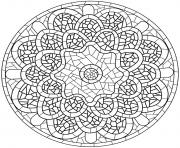 mandala avec pattern mosaique dessin à colorier