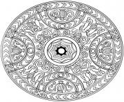 Coloriage ornements ronds decoratifs  forme de fleur inhabituelle oriental dessin