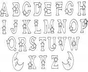 abecedaire alphabet et lettres etoiles dessin à colorier