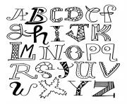 alphabet rigolo different dessin à colorier