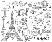 voyager en france dessin à colorier