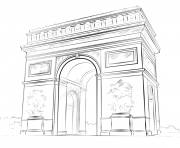 Coloriage arc de triomphe france par lena london