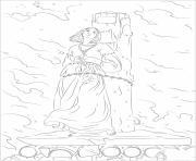 Jeanne d Arc brulant sur le pieu dessin à colorier