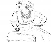 coco chanel france personnalite dessin à colorier
