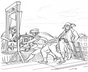 la peine de mort pour robespierre france dessin à colorier