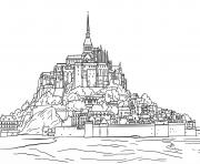 mont saint michel dessin à colorier