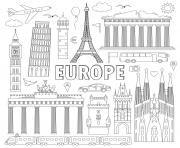 Coloriage monuments celebres Europe
