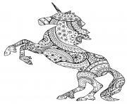 adulte licorne avec zentangle paisley motifs par art isabelle dessin à colorier