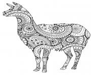 Coloriage animal lama avec zentangle paisley motifs