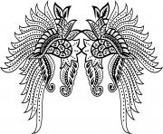 adulte tatouage ailes avec motifs fleurss dessin à colorier