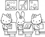hello kitty rentree scolaire dessin à colorier