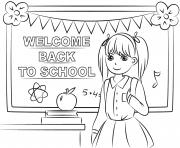 bienvenue a la rentree scolaire dessin à colorier