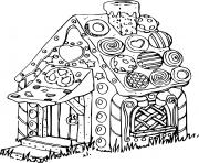 Coloriage maison enneigee dessin